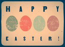 Happy Easter! Typographical grunge Easter greeting card with stylized ornamental eggs. Retro vector illustration. Stock Photo