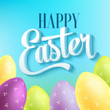 Happy easter typography on blur background with Royalty Free Stock Images