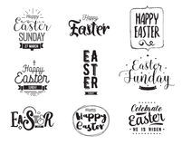 Happy Easter typography design set. Isolated compositions on white background. Royalty Free Stock Photography