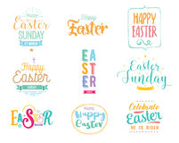 Happy Easter typography design set. Isolated compositions on white background. Stock Photography