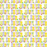 Happy easter typography with flowers and eggs. Vector background Stock Image