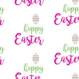 HAPPY EASTER TYPOGRAPHY. SEAMLESS PATTERN ON WHITE BACKGROUND. HAPPY EASTER HOLIDAY ON WHITE BACKGROUND. TYPOGRAPHIC TEXT. TITLE LETTERING. CALLIGRAPHIC FONT Royalty Free Stock Image