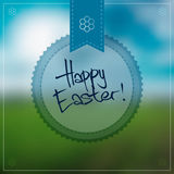 Happy Easter Vector Background With a Round Label Stock Photos