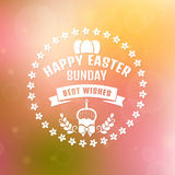 Happy Easter! Vector card with blurred background. Stock Photography