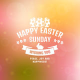 Happy Easter! Vector card with blurred background. Stock Images