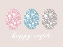 Free Happy Easter Vector Card. Cute Eggs In 3 Diferent Colors Isolated On A Beige Background. Stock Photography - 167070552