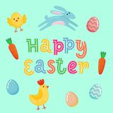 Happy Easter vector cute banner with colored ornate eggs, cartoon chiken and Easter banny, rabbit on yellow paper background. Funn. Y Easter poster, banner Royalty Free Stock Photo