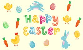 Happy Easter vector cute banner with colored ornate eggs, cartoon chiken and Easter banny, rabbit on yellow paper background. Funn. Y Easter poster, banner Royalty Free Stock Photos