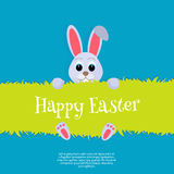 Happy Easter. Vector Easter bunny looking out a green background Wide copy space for text. Stock Images
