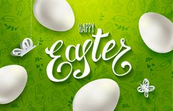 Happy Easter vector eggs and butterflies Royalty Free Stock Photography