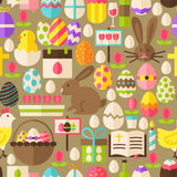 Happy Easter Vector Flat Design Brown Seamless Pattern. Happy Easter Brown Seamless Pattern. Flat Design Vector Illustration. Tile Background. Set of Spring Vector Illustration