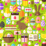 Happy Easter Vector Flat Design Green Seamless Pattern. Happy Easter Green Seamless Pattern. Flat Design Vector Illustration. Tile Background. Set of Spring Stock Illustration