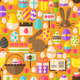 Happy Easter Vector Flat Design Orange Seamless Pattern. Happy Easter Orange Seamless Pattern. Flat Design Vector Illustration. Tile Background. Set of Spring Royalty Free Illustration
