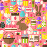 Happy Easter Vector Flat Design Pink Seamless Pattern. Happy Easter Pink Seamless Pattern. Flat Design Vector Illustration. Tile Background. Set of Spring Vector Illustration