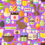 Happy Easter Vector Flat Design Purple Seamless Pattern. Happy Easter Purple Seamless Pattern. Flat Design Vector Illustration. Tile Background. Set of Spring Royalty Free Illustration