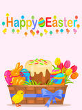 Happy Easter Vector Flyer or Concept. Happy easter flyer. Little chicken near wicker basket with painted eggs, sweet paschal bread, chocolate bunny and colorful Royalty Free Stock Photos