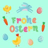 Happy Easter vector German cute banner with colored ornate eggs, cartoon chiken and Easter banny, rabbit on green paper background. Funny Easter poster, banner Royalty Free Stock Photography