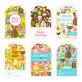 Happy Easter Vector Gift Tag Template Flat Set Royalty Free Stock Photos