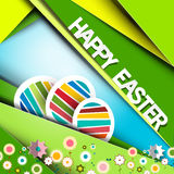 Happy Easter Vector Green Retro Paper Card Stock Photos