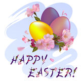 Happy Easter - vector greeting card Royalty Free Stock Images