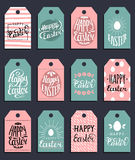 Happy Easter vector hand lettering greeting cards set. Religious holiday vector illustrations for labels, stickers etc. Royalty Free Stock Images