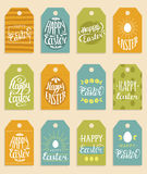Happy Easter vector hand lettering greeting cards set. Religious holiday vector illustrations for labels, stickers etc. Royalty Free Stock Image