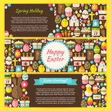 Happy Easter Vector Horizontal Banners Flat Set Royalty Free Stock Photography