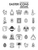 Happy Easter vector Icons Set. Set of Modern Thin linear Outline Icons for Website and Mobile. Eps 10. Black icons on. White background Royalty Free Stock Photography