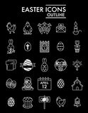 Happy Easter vector Icons Set. Set of Modern Thin linear Outline Icons for Website and Mobile. Eps 10. White icons on. Black background Stock Images