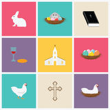 Happy Easter Vector Illustration Icons Set. Design Royalty Free Stock Photos