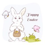 Happy Easter vector illustration with white Easter rabbit Royalty Free Stock Image