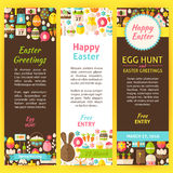 Happy Easter Vector Party Invitation Flyer Set Stock Photo