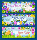 Happy Easter vector paschal eggs bunny banners set Royalty Free Stock Photography