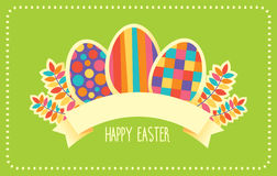 Happy Easter vector retro card or banner template. Vector template of card or banner with retro design and Happy Easter sign ribbon Stock Image