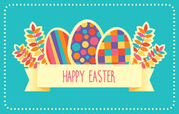 Happy Easter vector retro card or banner template Royalty Free Stock Images