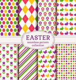 Happy Easter! Vector seamless patterns. Royalty Free Stock Photo