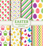 Happy Easter! Vector seamless patterns. Happy Easter! Set of cute holiday backgrounds. Collection of colorful seamless patterns with traditional symbols. Vector Royalty Free Stock Images
