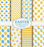 Happy Easter! Vector seamless patterns. Happy Easter! Set of cute holiday backgrounds. Collection of seamless patterns in white, blue and orange colors. Vector Royalty Free Stock Image