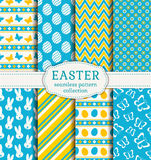 Happy Easter! Vector seamless patterns. Happy Easter! Set of cute holiday backgrounds. Collection of seamless patterns in white, blue and yellow colors. Vector Royalty Free Stock Photography