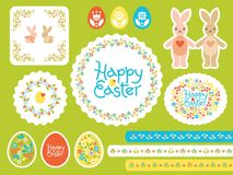 Happy Easter Vector set with colored eggs for greeting card, ad, promotion, poster, flyer, web-banner, article, social stock illustration