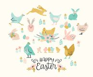 Happy Easter. Vector set of easter chicken and bunnies for card, poster, flyer and other users. Design element Stock Photo