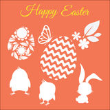 Happy easter vector set with silhouettes of chickens, rabbit, flower, leaf and eggs Royalty Free Stock Photography
