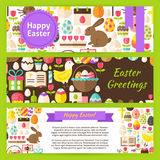 Happy Easter Vector Template Banners Set in Modern Flat Style Stock Photos