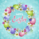 Happy Easter. Vector template Easter cards with realistic eggs and flowers. Beautiful background. Lettering, calligraphy royalty free illustration
