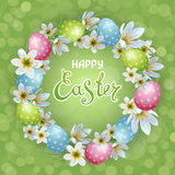 Happy Easter. Vector template Easter cards with realistic eggs and flowers Zephyranthes. Green background. Lettering, calligraphy vector illustration