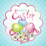 Happy Easter. Vector template Easter cards with realistic eggs and flowers Zephyranthes. Lettering, calligraphy royalty free illustration