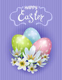 Happy Easter. Vector template Easter cards with realistic eggs and flowers Zephyranthes. Purple background. Lettering, calligraphy royalty free illustration