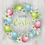 Happy Easter. Vector template Easter cards with realistic eggs and flowers Zephyranthes. Wood background. Lettering, calligraphy vector illustration