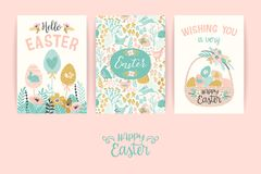 Happy Easter. Vector templates for card, poster, flyer and other users. Design element Stock Images