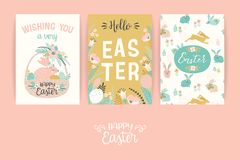 Happy Easter. Vector templates for card, poster, flyer and other users. Design element Royalty Free Stock Photos